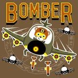 轰炸机与滑稽的飞行员的动画片传染媒介 皇族释放例证
