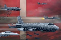 轰炸罢工概念的丹麦空军 丹麦军队空中飞机空投在旗子背景的炸弹 3d?? 库存例证