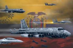 轰炸罢工概念的厄瓜多尔空军 厄瓜多尔军队空中飞机空投在旗子背景的炸弹 3d?? 向量例证