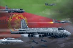 轰炸罢工概念的厄立特里亚空军 厄立特里亚军队空中飞机空投在旗子背景的炸弹 3d?? 向量例证