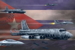 轰炸罢工概念的古巴空军 古巴军队空中飞机空投在旗子背景的炸弹 3d?? 库存例证