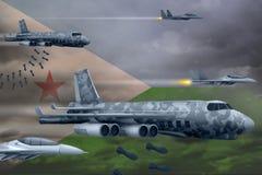 轰炸罢工概念的吉布提空军 吉布提军队空中飞机空投在旗子背景的炸弹 3d?? 向量例证