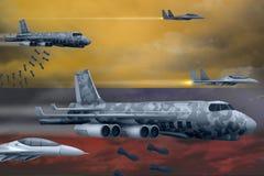 轰炸罢工概念的哥伦比亚空军 哥伦比亚军队空中飞机空投在旗子背景的炸弹 3d?? 库存例证