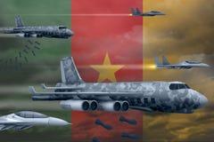 轰炸罢工概念的喀麦隆空军 喀麦隆军队空中飞机空投在旗子背景的炸弹 3d例证 向量例证