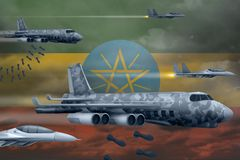 轰炸罢工概念的埃塞俄比亚空军 埃塞俄比亚军队空中飞机空投在旗子背景的炸弹 3d?? 库存例证
