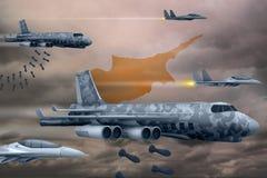 轰炸罢工概念的塞浦路斯空军 塞浦路斯军队空中飞机空投在旗子背景的炸弹 3d?? 皇族释放例证