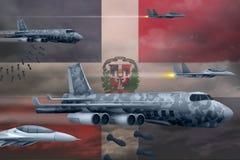 轰炸罢工概念的多米尼加共和国空军 多米尼加共和国军队空中飞机空投在旗子背景的炸弹 3d 皇族释放例证