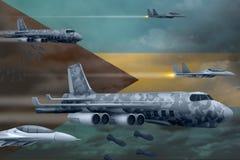 轰炸罢工概念的巴哈马空军 巴哈马军队空中飞机空投在旗子背景的炸弹 3d例证 向量例证