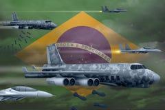 轰炸罢工概念的巴西空军 巴西军队空中飞机空投在旗子背景的炸弹 3d例证 向量例证