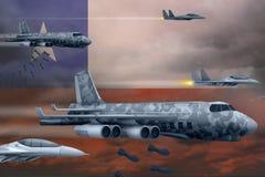 轰炸罢工概念的智利空军 智利军队空中飞机空投在旗子背景的炸弹 3d例证 皇族释放例证