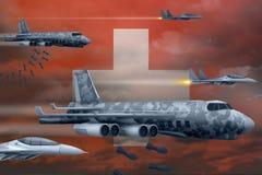 轰炸罢工概念的瑞士空军 瑞士军队空中飞机空投在旗子背景的炸弹 3d例证 皇族释放例证