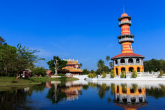 轰隆痛苦宫殿在Phra洛坤Si阿尤特拉利夫雷斯,泰国 免版税库存照片