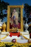 轰隆痛苦,泰国:国王的照片画象 免版税库存图片
