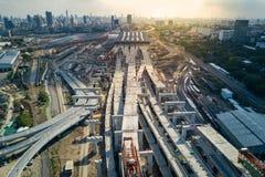 轰隆苏中央驻地,曼谷铁路插孔  免版税库存图片
