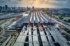 轰隆苏中央驻地,曼谷铁路插孔  图库摄影
