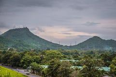 轰隆Pra水库风景在是拉差,泰国 免版税库存照片