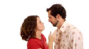 轻地争论的夫妇 库存照片