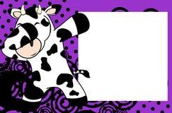 轻拍轻打的姿势母牛孩子动画片画框背景 皇族释放例证