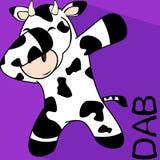 轻拍轻打的姿势母牛孩子动画片 库存例证