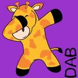 轻拍轻打的姿势长颈鹿孩子动画片 皇族释放例证