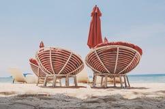 轻松的海滩睡椅,柬埔寨海滩 免版税库存图片