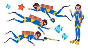轻潜水员传染媒介 潜航的潜水 水下 被隔绝的平的漫画人物例证 图库摄影
