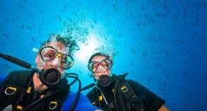 轻潜水员夫妇,画象摄影 免版税库存照片