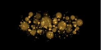 轻的抽象发光的bokeh光 Bokeh被隔绝的光线影响对透明背景 欢乐紫色和金黄 库存例证
