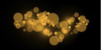 轻的抽象发光的bokeh光 Bokeh被隔绝的光线影响对透明背景 欢乐紫色和金黄 向量例证