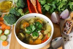 轻的蔬菜汤和成份 库存图片