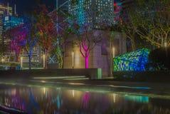 轻的设施在一个公园在香港在晚上- 3 库存照片