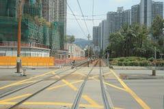 轻的路轨运输在屯门hk 免版税库存照片