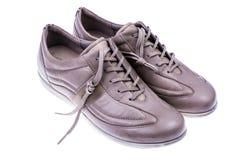 轻的运动的皮革妇女` s鞋子 免版税库存图片