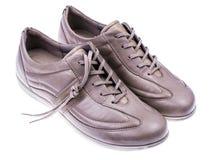 轻的运动的皮革妇女` s鞋子 库存照片