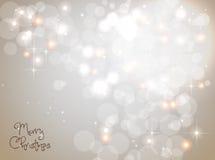 轻的银色抽象圣诞节背景 免版税库存图片