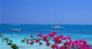 辅助海滩biches小船海岛毛里求斯trou 图库摄影