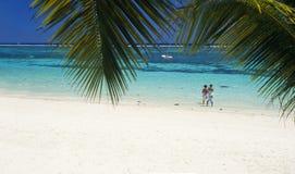 辅助海滩biches海岛毛里求斯trou 库存照片