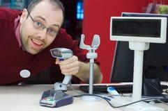 辅助滑稽的货物男性scaner界面 免版税库存图片