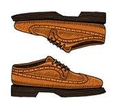 辅助经典的鞋子或的人 刻记手拉在老葡萄酒剪影 鞋类或方,便装样式 免版税库存照片