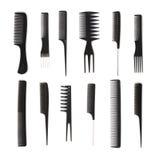 辅助部件梳子发型集 库存图片