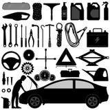 辅助部件自动汽车维修服务工具 免版税库存照片