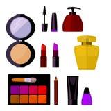 辅助部件化妆用品查出的集合白色 库存图片