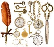 辅助部件古董 古色古香的钥匙,时钟,剪刀,指南针 免版税库存图片