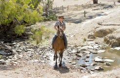 辅导员或牧畜者在太阳镜、牛仔帽和车手起动的骑乘马 库存图片
