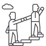 辅导者,帮助,良师,达到目标传染媒介线象,标志,在背景,编辑可能的冲程的例证 皇族释放例证
