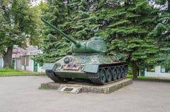 1辆华沙坦克军团T-34坦克纪念品在整修以后在Elblag 免版税图库摄影