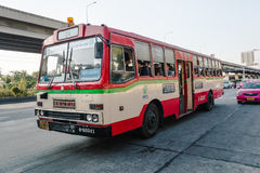 24辆红色公共汽车在曼谷 免版税库存图片