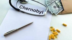 辐射危害 切尔诺贝利的文件在一张黑桌上的 股票录像