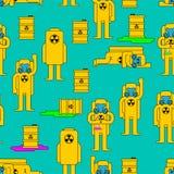 辐射图 毒性桶 黄色衣服化学制品生物危害品 库存例证