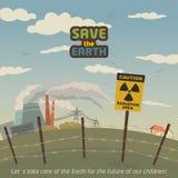 辐射在核电站附近的地区风景 库存照片